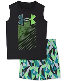Under Armour Little Boys 2-Pc. Geo Cache Rising Logo Tank Top & Shorts Set
