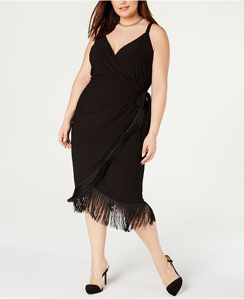 INC Plus Size Surplice Fringe Wrap Dress, Created for Macy\'s
