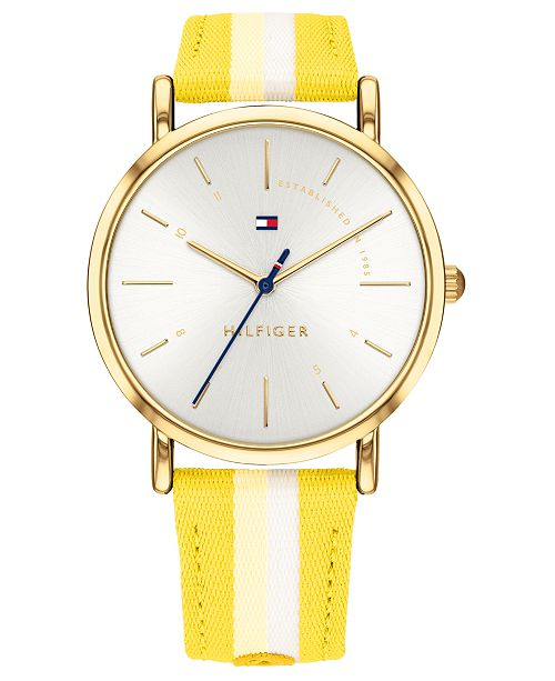 Tommy Hilfiger Women's Yellow & White Nylon Strap Watch 35mm, Created for Macy's