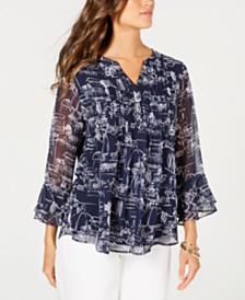Charter Club Printed Pintuck Bell-Sleeve Top, Created for Macy's