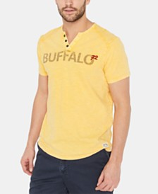 Buffalo David Bitton Men's Kuway Logo Graphic Split-Neck T-Shirt