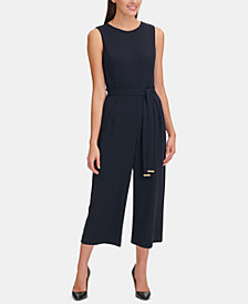 Tommy Hilfiger Petite Belted Cropped Jumpsuit