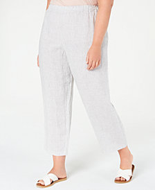 Eileen Fisher Plus Size Striped Organic Linen Pants