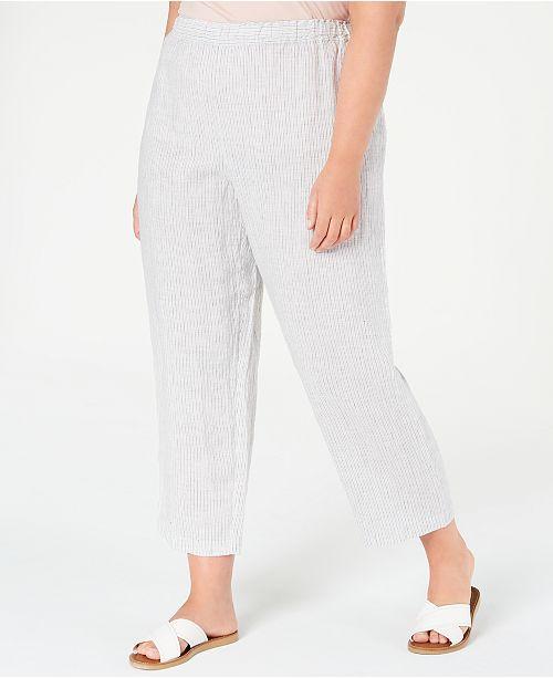 Eileen Fisher Plus Size Striped Organic Linen Pants