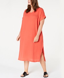 Eileen Fisher Plus Size Organic Cotton Shift Dress