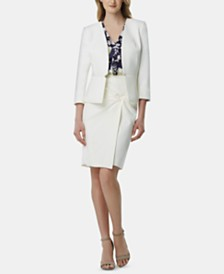 Tahari ASL Notched-Waist Blazer, Printed Ruffled Blouse & Twist-Front Skirt