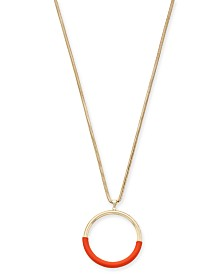 "Alfani Gold-Tone Colorblock Circle Pendant Necklace, 34"" + 2"" extender; Created for Macy's"