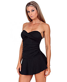 InstantFigure Compression Skirted One-Piece Swimsuit with Super Slimming All-Over Body Control