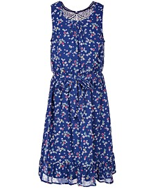 Monteau Big Girls Lace-Back Floral-Print Dress