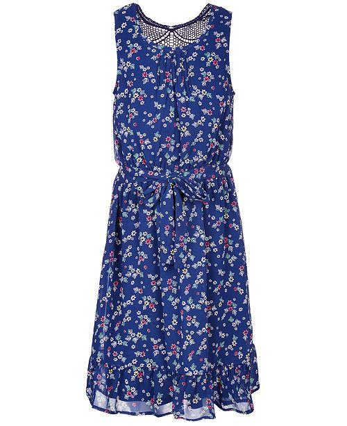 Monteau Big Girls Lace-Back Floral-Print Dress