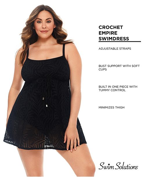 d0ad0c3f02b Swim Solutions Plus Size Crocheted Tummy-Control Swimdress