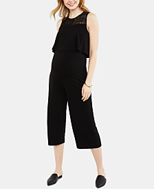 Motherhood Maternity Tiered Lace-Trim Jumpsuit