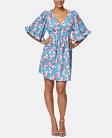 Betsey Johnson Petite Floral Printed Ruffled-Sleeve Dress