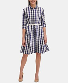 Tommy Hilfiger Belted Plaid Shirtdress