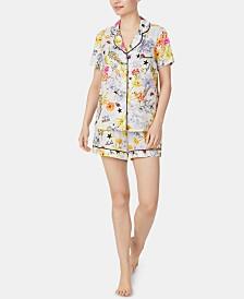 Betsey Johnson Notch Collar Top and Shorts Printed Pajama Set