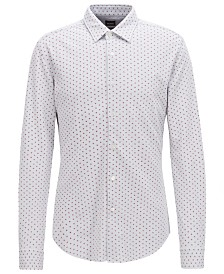 BOSS Men's Slim Fit Patterned Cotton Shirt