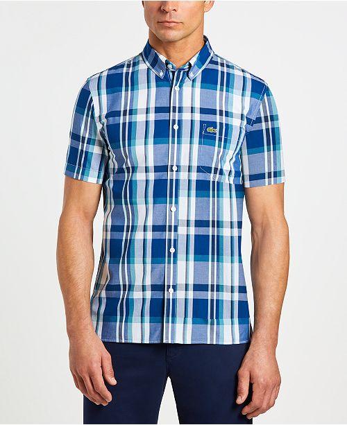 451c3f7676 Men's Slim-Fit Short Sleeve Poplin Plaid Shirt
