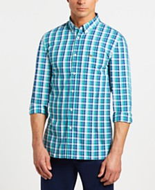 Lacoste Men's Slim-Fit Long Sleeve Poplin Plaid Shirt