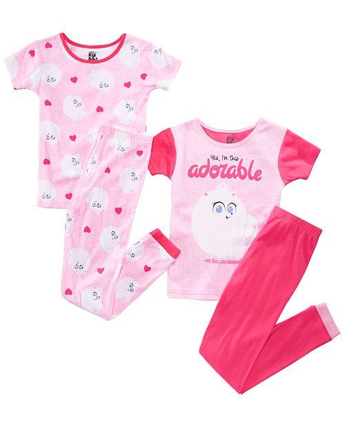AME Little & Big Girls 4-Pc. Secret Life of Pets Graphic Cotton Pajamas