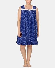 Plus Size Eyelet-Trim Cotton Knit Nightgown