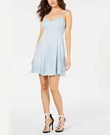GUESS Adjustable Chambray Dress