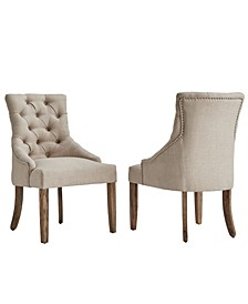 Alvia Button Tufts Wingback Hostess Chair Set Of 2