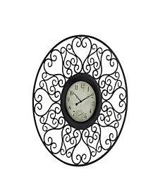 Rosemary Lane Rustic Metal Wall Clock
