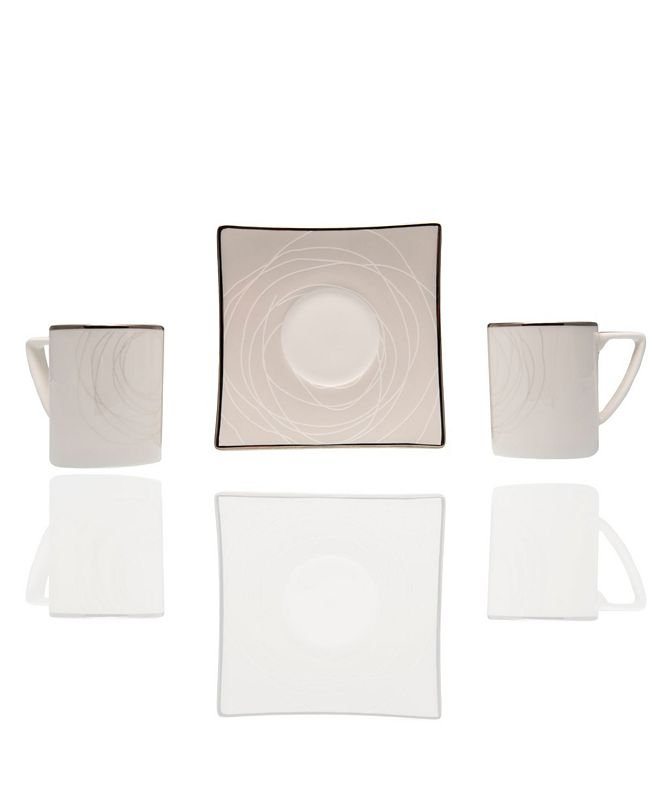 "Red Vanilla Orbit 4.5"" Espresso Cup and Saucer Set"