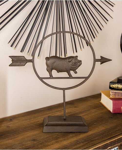 Macy Home Decor: Rosemary Lane Farmhouse Metal Pig Table Decor & Reviews