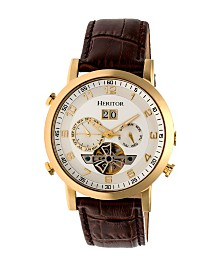 Heritor Automatic Edmond Gold Case, Genuine Brown Leather Watch 43mm