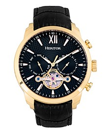 Automatic Arthur Gold Case, Black Dial, Genuine Black Leather Watch 45mm