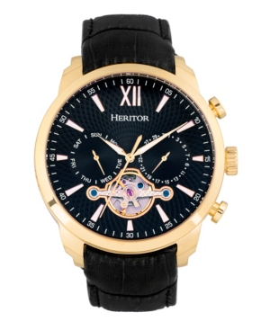 Heritor Automatic Arthur Gold Case, Black Dial, Genuine Black Leather Watch 45mm