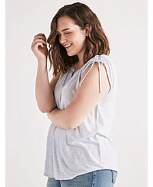 Lucky Brand Plus Shoulder Shirring Mixed Top