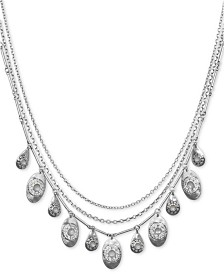 "Lucky Brand Silver-Tone Stone Layered Necklace, 18-1/2"" + 2"" extender"