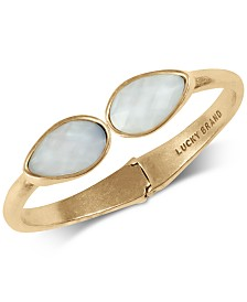 Lucky Brand Gold-Tone Double Stone Cuff Bracelet