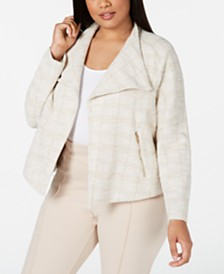 Calvin Klein Plus Size Tweed Flyaway Jacket