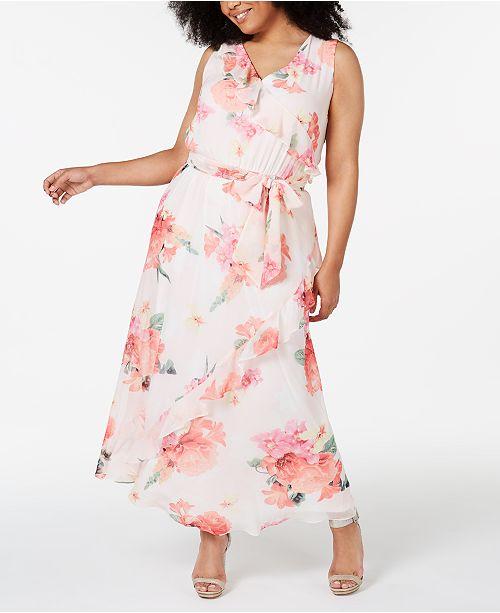 70f869286e8 Calvin Klein Plus Size Floral-Print Ruffled Maxi Dress & Reviews ...
