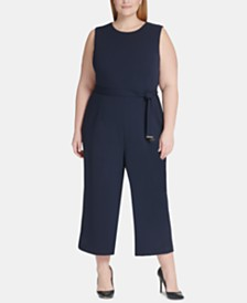Tommy Hilfiger Plus Size Belted Cropped Jumpsuit