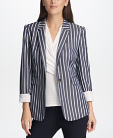 DKNY Pinstripe One-Button Blazer