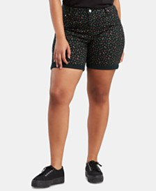 Levi's® Trendy Plus Size Floral-Print Denim Shorts