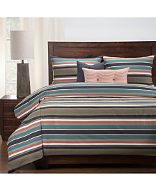 Revolution Plus Everlast Preppy Stain Resistant 6 Piece Cal King High End Duvet Set