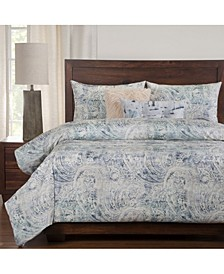 Indio Blue And Cream Pasley 5 Piece Twin Luxury Duvet Set