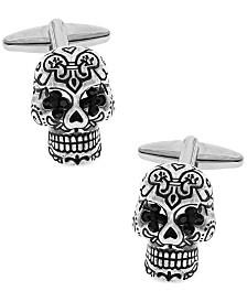 Sutton Silver-Tone Cubic Zirconia Sugar Skull Cufflinks