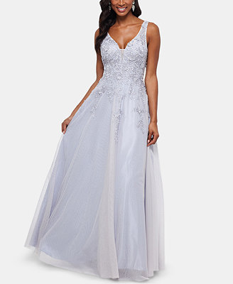Embroidered Sleeveless Ballgown by Xscape