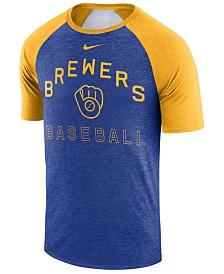 Nike Men's Milwaukee Brewers Dry Slub Short Sleeve Raglan T-Shirt