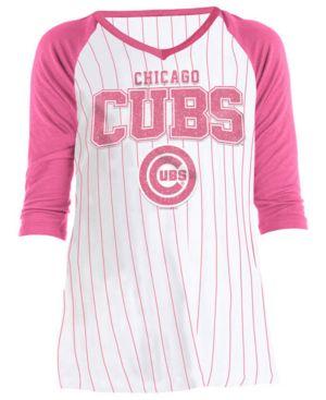 Image of 5th & Ocean Big Girls Chicago Cubs Pinstripe Raglan T-Shirt