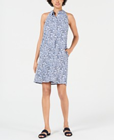 Maison Jules Printed Button-Up Sleeveless Dress, Created for Macy's