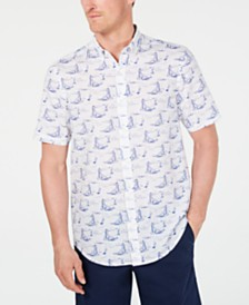 Club Room Men's Scenic Print Linen Shirt, Created for Macy's