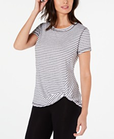 Ideology Striped Knot-Front Top, Created for Macy's