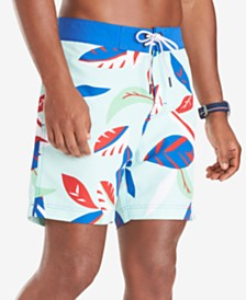 "Tommy Hilfiger Men's Blake Quick-Dry Leaf-Print 6-1/2"" Board Shorts"